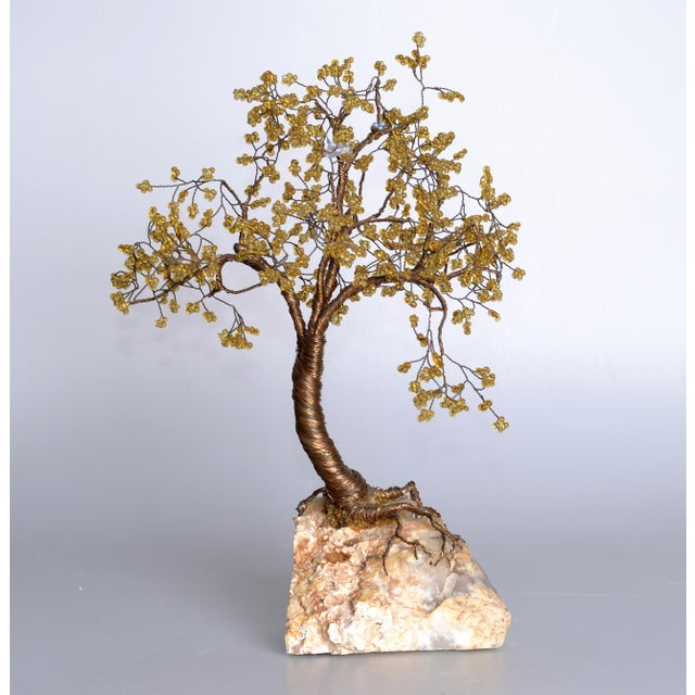 Metal tree sculpture with beads mounted on a white Quartz Fossil. Note the details and the craftsmanship. No signature found.