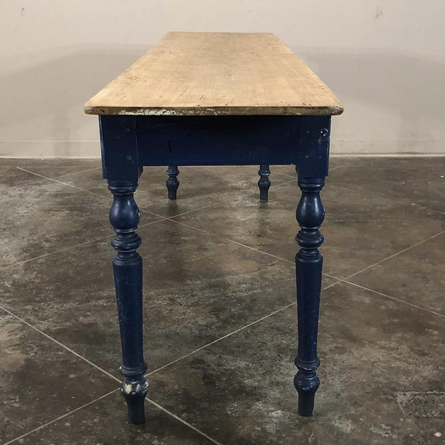 Antique 19th Century Painted Sofa Farm Table With Stripped Top For Sale - Image 10 of 13