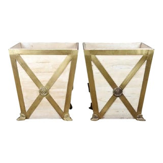 Modern Brass & Wood Planters - a Pair