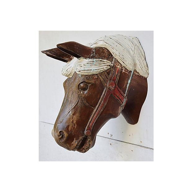 1940s Hand-Carved Carousel Horse Head - Wall Mounted - Image 6 of 11