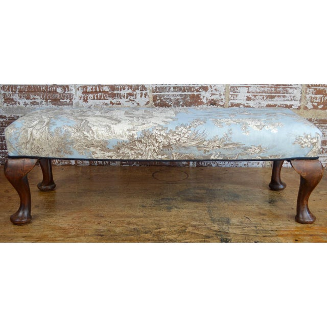 Late 19th Century Queen Anne Style Upholstered Long Footstool For Sale - Image 4 of 13