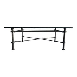 Mid-Century Modern Rectangular Wrought Iron Base Glass Top Coffee Table in Giacometti For Sale