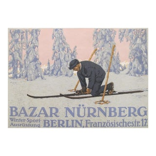 Original 1927 German Mini Poster, Skiing
