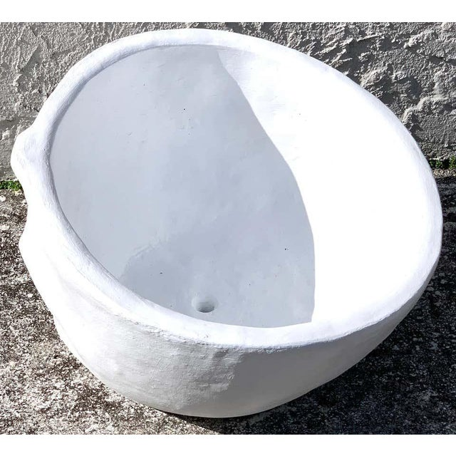 Modern Cast Stone Half Face Planter For Sale - Image 4 of 7