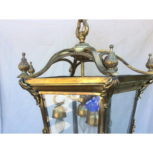 English Traditional Antique Brass English Hall Lantern For Sale - Image 3 of 10