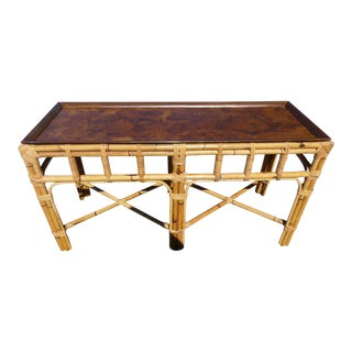 1950s Hollywood Regency Rattan Console Table For Sale