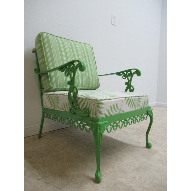 Contemporary Vintage Green Aluminum Chippendale Ball & Claw Patio Chair For Sale - Image 3 of 11