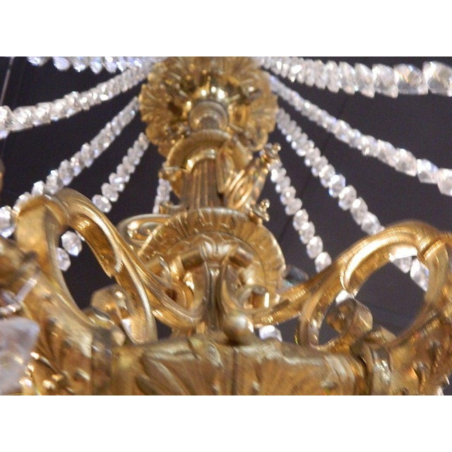 Metal French Bronze Dore Eighteen Candle Chandelier With Crystals, 19th Century For Sale - Image 7 of 11