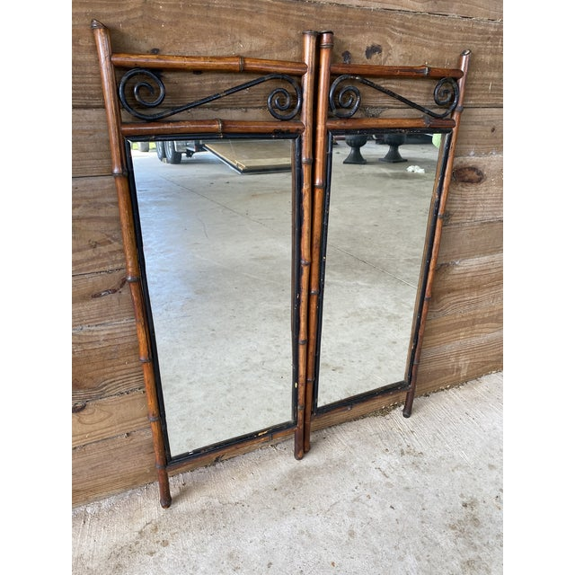 Wood Antique French Bi-Fold Bamboo Mirror For Sale - Image 7 of 13