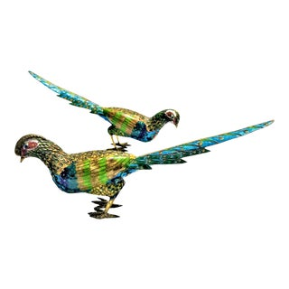 Very Large Vintage Chinese Cloisonné Bird Sculptures - a Pair - Asian Oriental Art Deco Palm Beach Boho Chic Animal Tropical Coastal For Sale