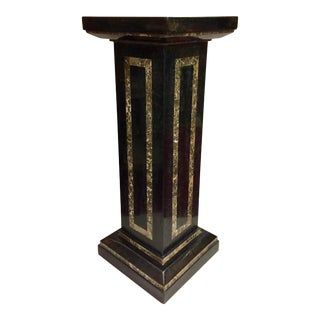 1980s Vintage Tall Black Roman Tessellated Stone Pedestal For Sale