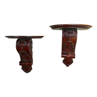 20th Century Indonesian Ornate Carved Wood Corbels - a Pair For Sale