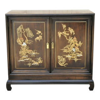 Vintage Oriental Chinese Ming Style 2 Door Hand Painted Cabinet For Sale