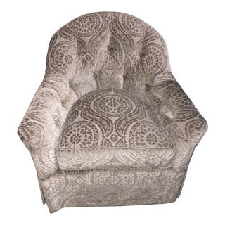 Modern Kravet Interlude Tufted Swivel Chair For Sale