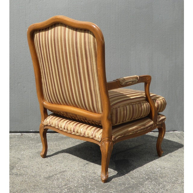 Vintage French Country Brown Stripped Accent Chairs With Down Cushions - a Pair For Sale - Image 4 of 12