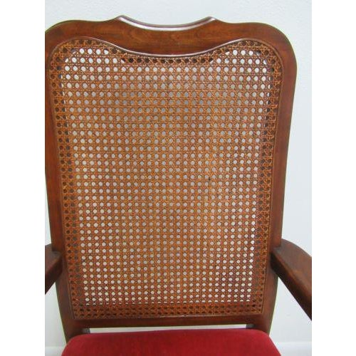 Vintage Thomasville Solid Cherry Queen Anne Caned Chair For Sale In Philadelphia - Image 6 of 11