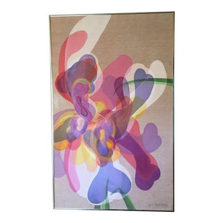 Vintage Abstract Irises Painting by Jo Bailey 1980 Color Field/Op Art For Sale