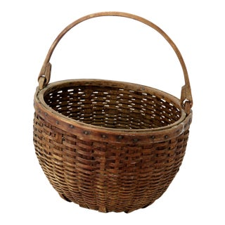 Antique American Hand Woven Splint Basket For Sale