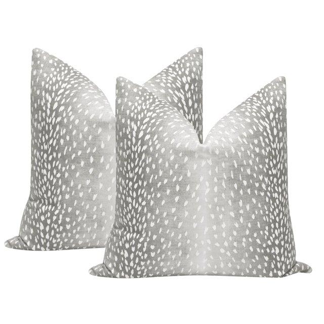 "22"" Gray Antelope Linen Print Pillows - a Pair For Sale"