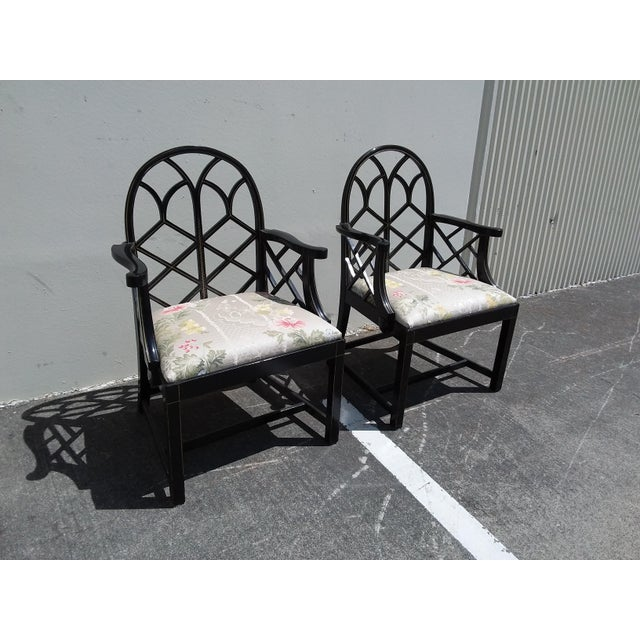 Gold Lattice Work Back Black Arm Chairs - a Pair For Sale - Image 8 of 11