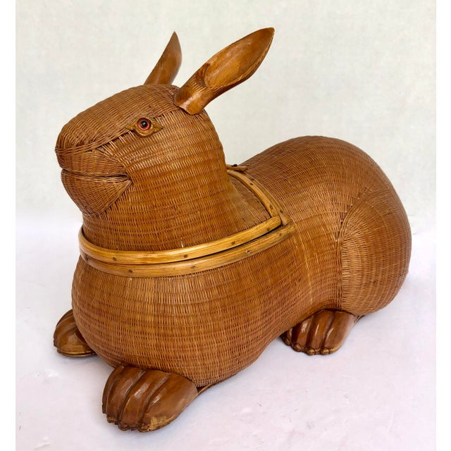 Charming, Hand Woven Wicker Rabbit Box with glass eyes, c.1940 This whimsical rabbit box from the well known Shanghai...