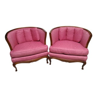 French Country Tufted Marquis Bergeres Style Barrel Chairs - a Pair