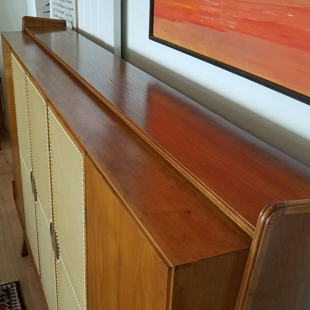 Mid 20th Century Italian Extra Large Maple Credenza For Sale - Image 11 of 13