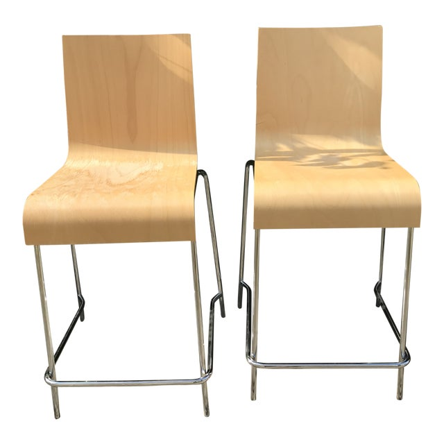 Modern Wooden Stools - a Pair For Sale