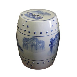 Chinese Blue & White Porcelain Scenery Round Stool Table For Sale