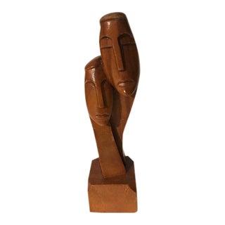 1950s Vintage Eames Era Abstract Man / Woman Teak Sculpture For Sale
