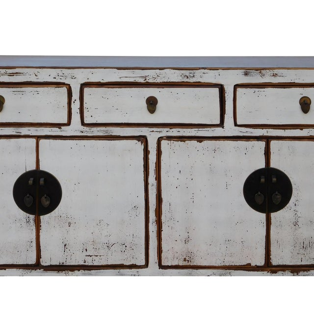 Chinese Distressed Rustic Off White Sideboard Cabinet For Sale - Image 4 of 6