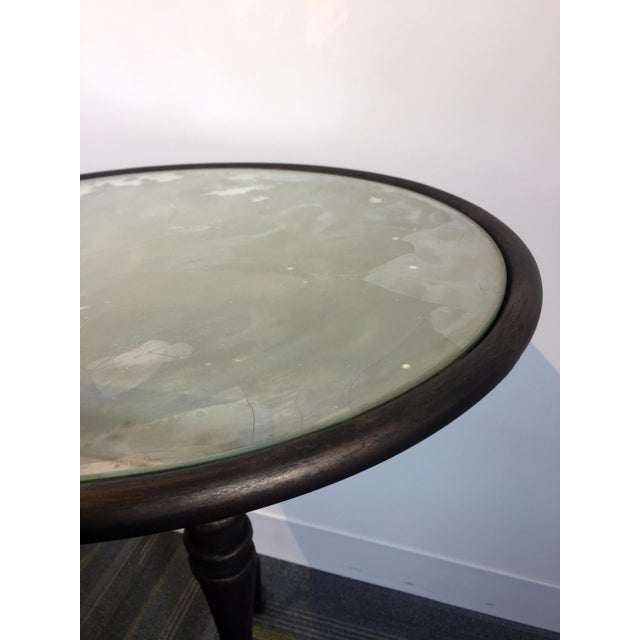 Iron & Antiqued Mirror Side Table For Sale - Image 4 of 6