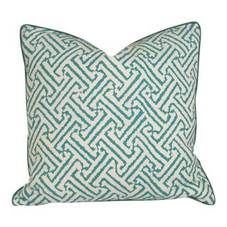 Quadrille China Seas Java Grande Turquoise Pillow Cover For Sale