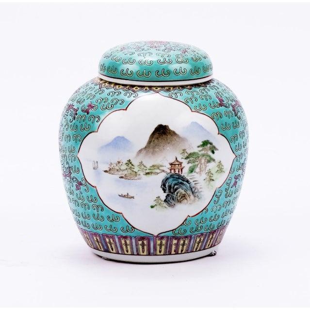 Teal Lidded Ming Porcelain Jar Landscape Madallion