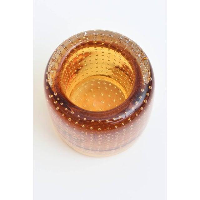 Heavy Bullecante Italian Murano Seguso Glass Vase or Candleholder - Image 5 of 8