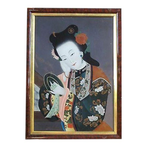 Mid 20th Century Asian Glass Reverse Painting of Geisha For Sale