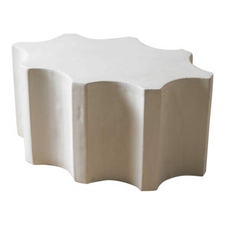 Cast Stone Fluted Cocktail Table For Sale