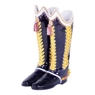 Majolica Boot Umbrella or Cane Stand For Sale