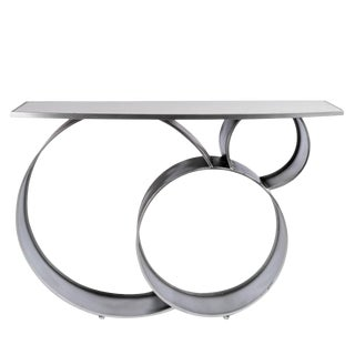 Contemporary Blake Marble Top Silver Console Table