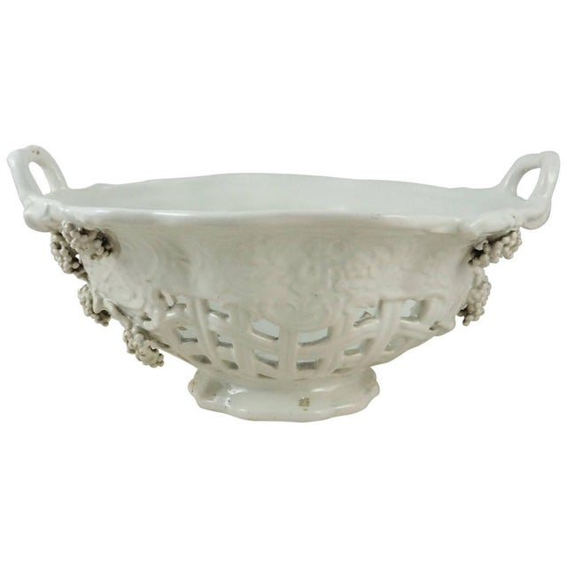 White French White Reticulated Basket Emile Tessier, circa 1920 For Sale - Image 8 of 9