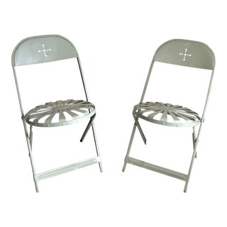 Francois Carre Green Iron Sunburst Folding Chairs - a Pair For Sale