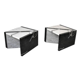 Postmodern Tessellated Stone Side Tables- a Pair For Sale