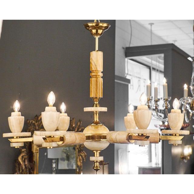 Italian Six-Arm Onyx Brass Chandelier For Sale - Image 4 of 11