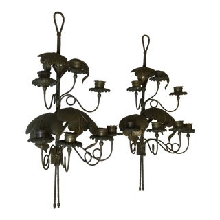 Antique Large Heavy European Hammered Metal Wall Candlestick Sconces - a Pair For Sale