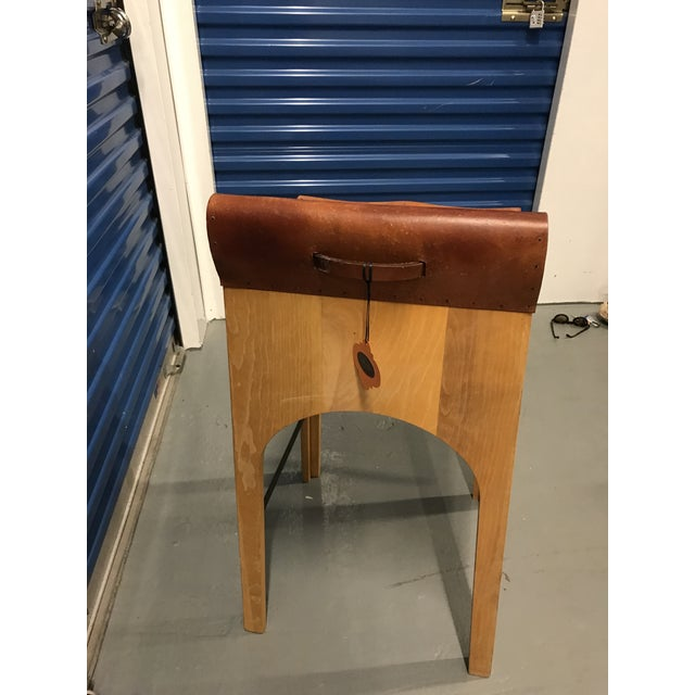 American Classical Lostine Wood & Leather Bar Stool For Sale - Image 3 of 4