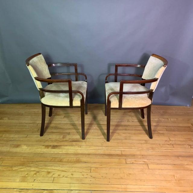 1930s Pair 1930s German Art Deco Armchairs, Mahogany & Velvet For Sale - Image 5 of 12
