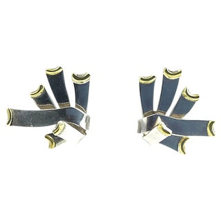 Mexican Sterling & Brass Earrings For Sale