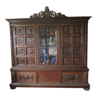 Late 19th Century Antique Hungarian Hand-Carved Bookcase Wall Unit Cabinet For Sale