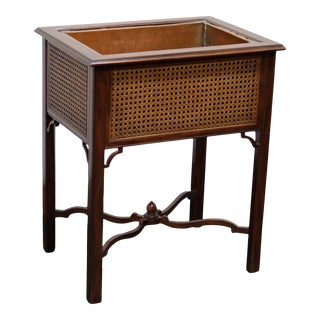 Kindel Chinese Chippendale Mahogany Caned Plant Stand For Sale
