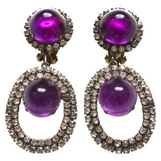 60s Kjl Purple Drop Earrings For Sale